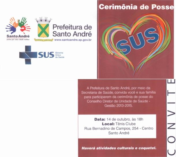 Convite para a posse dos conselheiros de saúde de Santo André