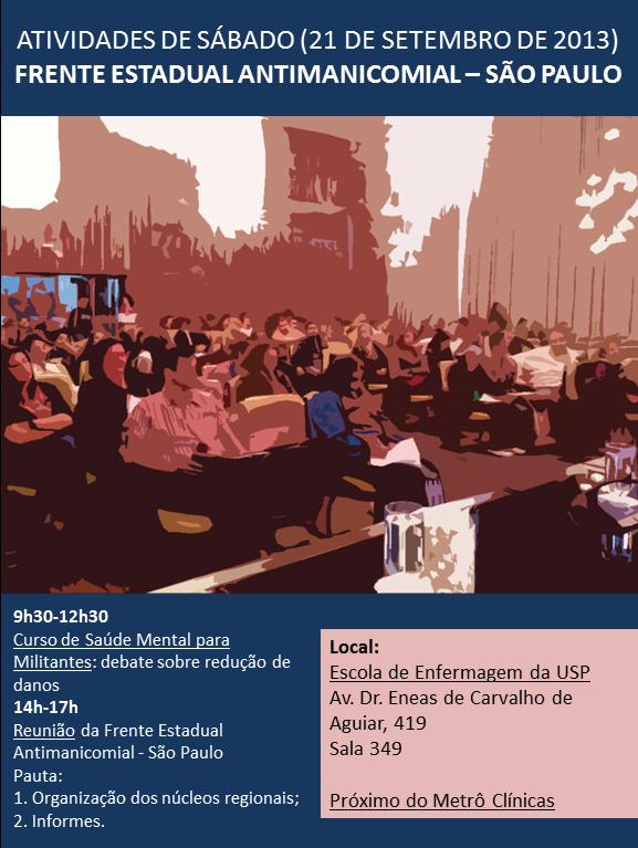 Convite para a reunião da frente estadual antimanicomial - São Paulo de SETEMBRO DE 2013