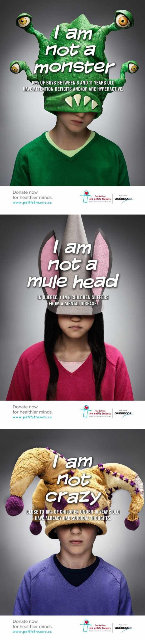 Cartazes de uma recente campanha canadense que alerta para os cuidados em saúde mental para crianças